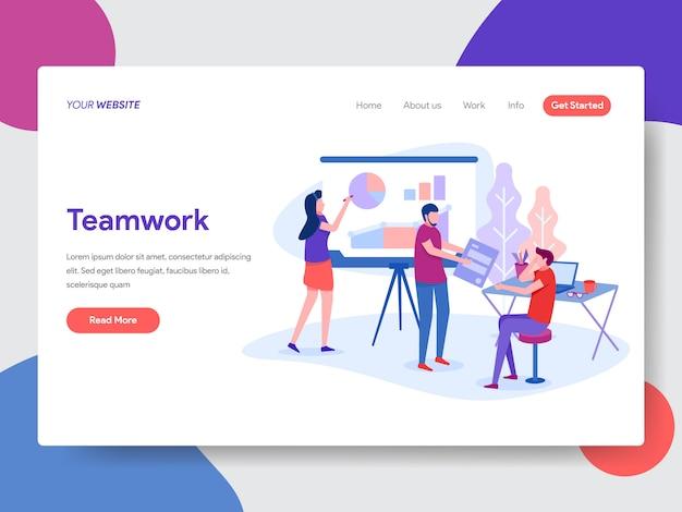 Illustration du travail d'équipe pour la page d'accueil