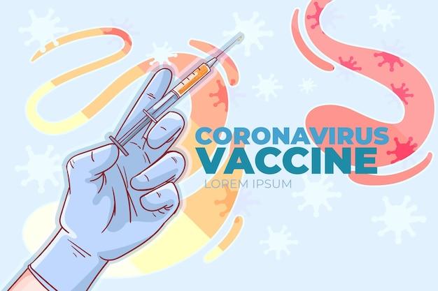 Illustration du vaccin contre le coronavirus plat dessiné à la main