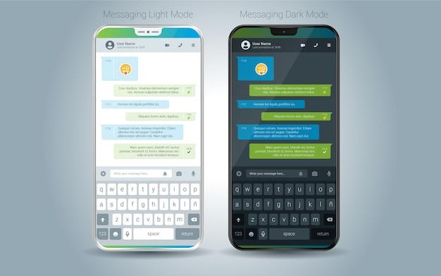 Illustration du vecteur d'interface utilisateur clair et foncé de l'application mobile de messagerie