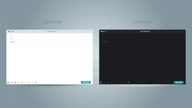 Illustration du vecteur d'interface utilisateur de la fenêtre de modèle vierge de courrier électronique