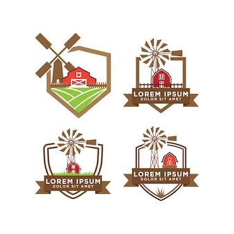 Illustration du vecteur de modèle de conception de logo de grange
