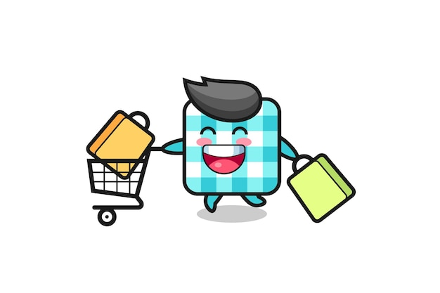 Illustration du vendredi noir avec une jolie mascotte de nappe à carreaux, un design de style mignon pour un t-shirt, un autocollant, un élément de logo