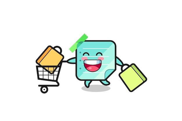 Illustration du vendredi noir avec une jolie mascotte de notes autocollantes bleues, un design de style mignon pour un t-shirt, un autocollant, un élément de logo