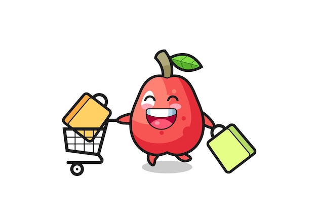 Illustration du vendredi noir avec une jolie mascotte de pomme d'eau, un design de style mignon pour un t-shirt, un autocollant, un élément de logo