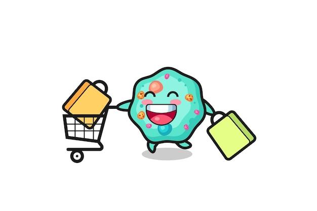 Illustration du vendredi noir avec une mascotte d'amibe mignonne, un design de style mignon pour un t-shirt, un autocollant, un élément de logo