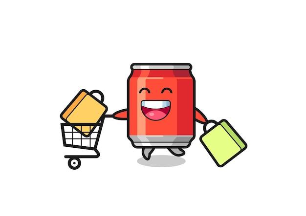 Illustration du vendredi noir avec mascotte de canette de boisson mignonne, design de style mignon pour t-shirt, autocollant, élément de logo