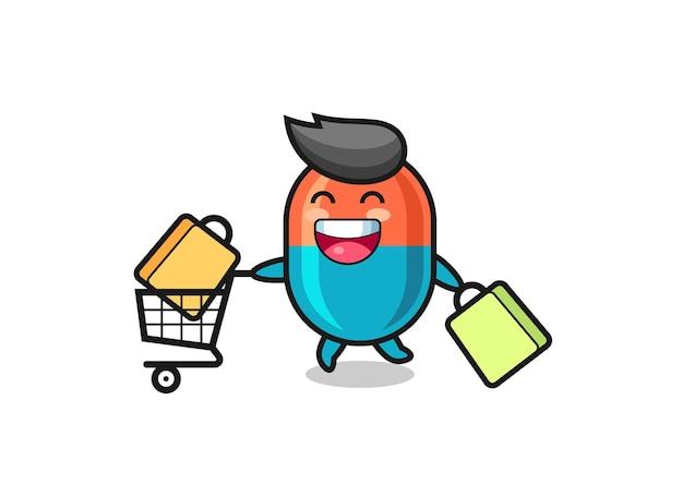 Illustration du vendredi noir avec mascotte de capsule mignonne, design de style mignon pour t-shirt, autocollant, élément de logo