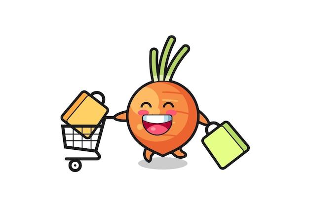 Illustration du vendredi noir avec mascotte de carotte mignonne, design de style mignon pour t-shirt, autocollant, élément de logo