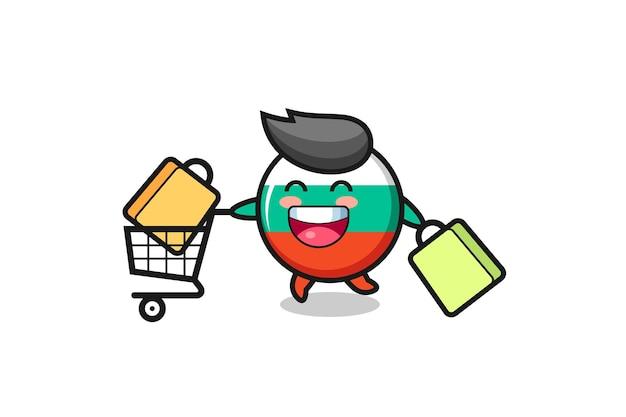 Illustration du vendredi noir avec une mascotte mignonne d'insigne de drapeau de la bulgarie, un design de style mignon pour un t-shirt, un autocollant, un élément de logo