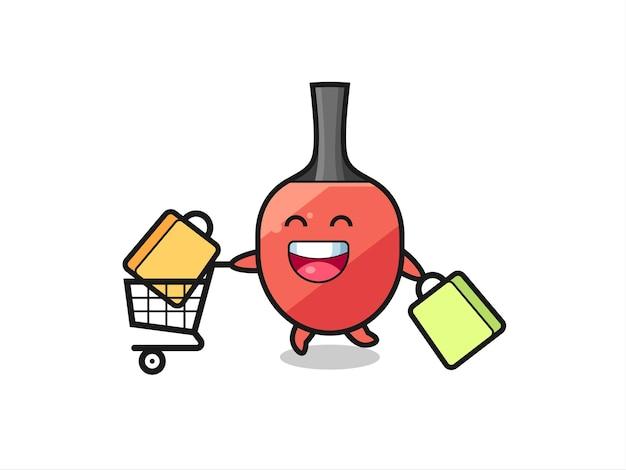Illustration du vendredi noir avec mascotte de raquette de tennis de table mignonne, design de style mignon pour t-shirt, autocollant, élément de logo
