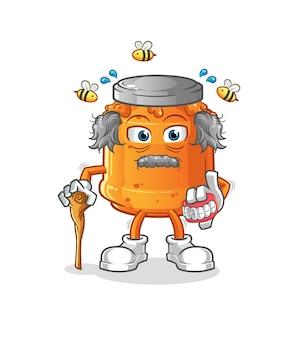 L'illustration du vieil homme aux cheveux blancs confiture de miel