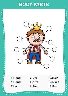 Illustration du vocabulaire de l'homme faisant partie du corps, écrivez le nombre correct de parties du corps.vector