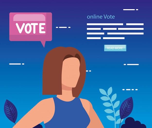 Illustration du vote en ligne avec la femme d'affaires