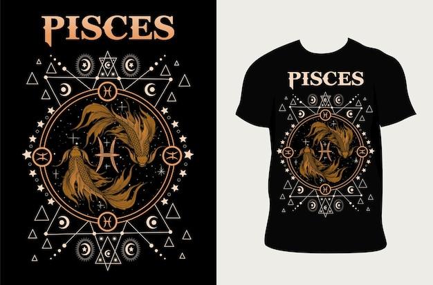 Illustration du zodiaque des poissons avec t-shirt