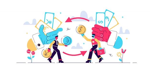 Illustration d'échange d'argent. concept de personnes minuscule monnaie financière plate. processus économique pour trader l'euro, le dollar, la livre ou le yen. cycle global de transaction de billets de banque différents.