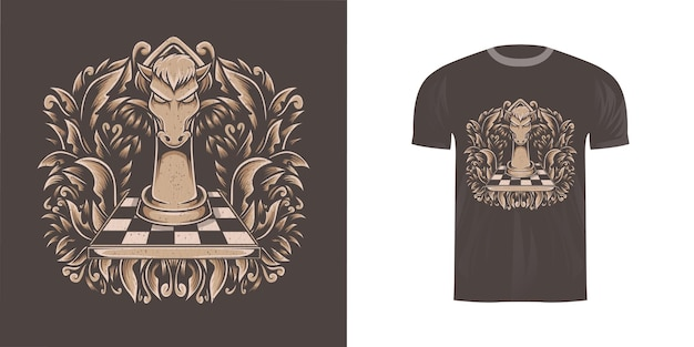 Illustration d & # 39; échecs de cheval pour la conception de t-shirt
