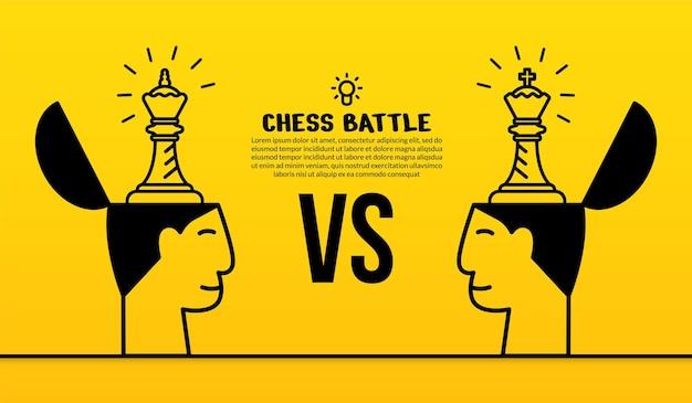 Illustration d'échecs linéaire de têtes humaines sur jaune