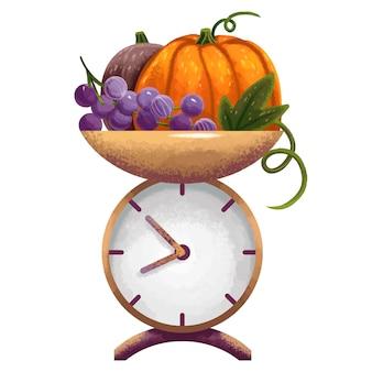 Illustration avec des échelles pour les légumes pour la récolte, la citrouille, les raisins, la citrouille brune, la récolte, le confort
