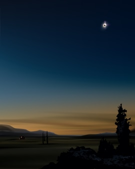 Illustration de l'éclipse solaire partielle dans le ciel au coucher du soleil sur fond de paysage