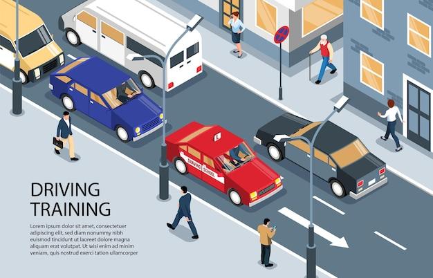 Illustration de l'école de conduite isométrique