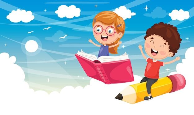 Illustration des écoliers volant