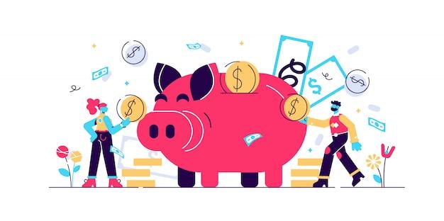 Illustration d'économie d'argent. concept de personnes minuscules plates avec tirelire budget. symbole de richesse financière avec de l'argent en espèces provenant de l'épargne. succès de l'investissement et stratégie de dépôt de fonds économique sûr.