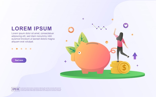 Illustration d'économiser de l'argent et d'investir avec la tirelire et les icônes de pièces