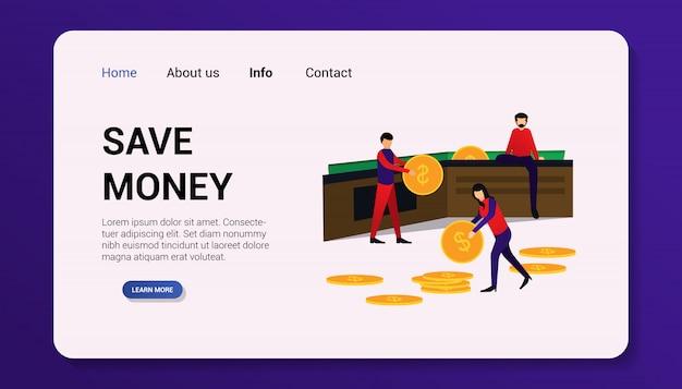 Illustration d'économiser de l'argent page de destination design plat