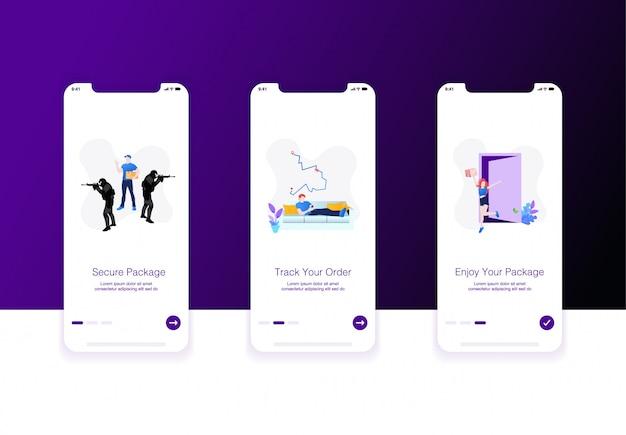 Illustration de l'écran d'accueil pour le commerce électronique ou l'expédition