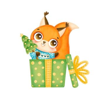 Illustration de l'écureuil de noël dessin animé mignon avec arbre de noël dans une boîte cadeau verte