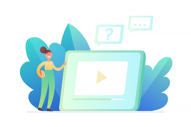 Illustration de l'éducation en ligne ou des affaires isolé sur blanc. grand ordinateur portable avec leçon vidéo jeune femme