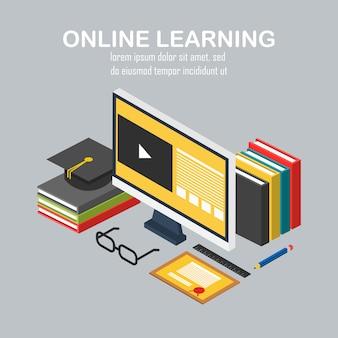 Illustration de l'éducation en ligne des éléments de bureau