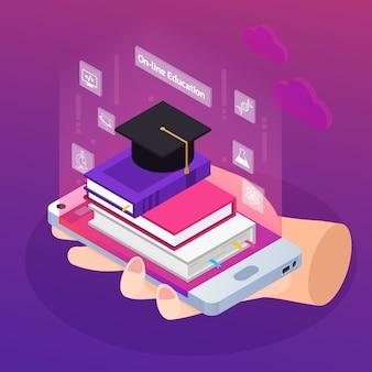 Illustration de l'éducation en ligne isométrique