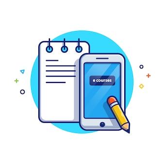 Illustration de l'éducation en ligne. notes et smartphone. concept d'icône d'éducation blanc isolé