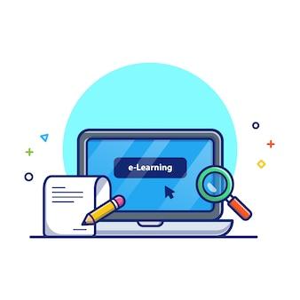 Illustration de l'éducation en ligne. ordinateur portable, notes, loupe. concept d'icône d'éducation blanc isolé