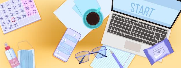 Illustration de l'éducation en ligne avec ordinateur portable et smartphone sur vue de dessus du lieu de travail