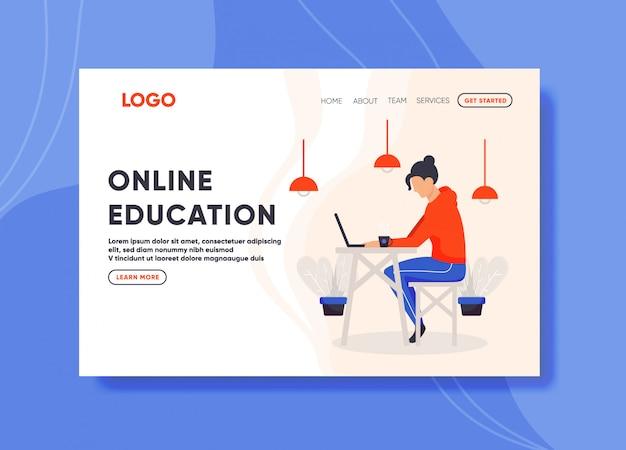 Illustration de l'éducation en ligne pour le modèle de page de destination