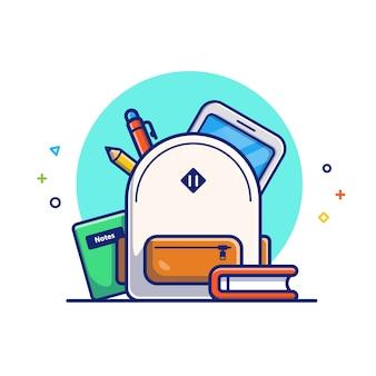 Illustration de l'éducation en ligne. sac, livre et tablette. concept d'icône d'éducation blanc isolé