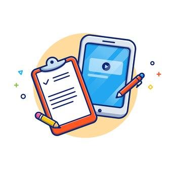 Illustration de l'éducation en ligne. tablette, notes et crayon. concept d'icône d'éducation blanc isolé