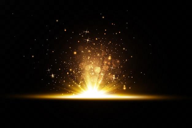 Illustration d'effet de lumière luisante. poussière de flash. les particules de poussière scintillent