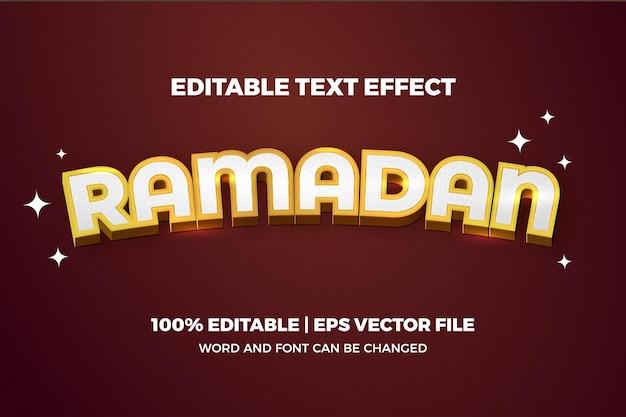 Illustration d'effet de texte modifiable ramadan doré