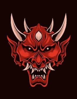 Illustration effrayant masque oni couleur rouge