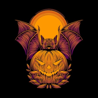 Illustration effrayante de citrouille et de chauves-souris halloween