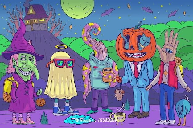 Illustration Effrayante D'halloween De Créatures Vecteur gratuit