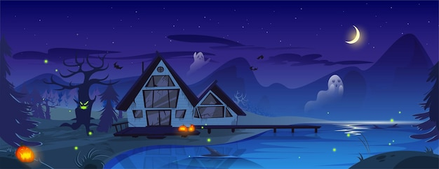 Illustration effrayante d'halloween avec de vieux fantômes et chauves-souris effrayants de citrouilles de maison