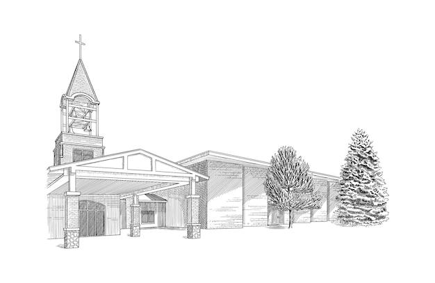 Illustration avec église moderne. beau bâtiment de croquis.