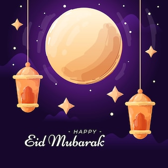 Illustration eid mubarak style plat et dessiné à la main