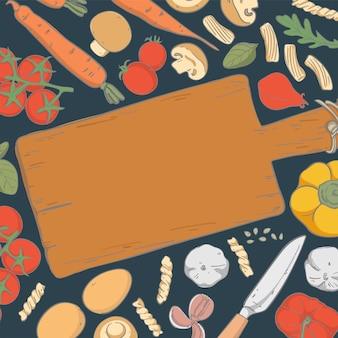 Illustration élément cadre dessiné main pour ingrédient