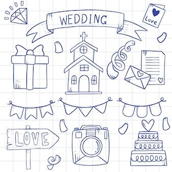 Illustration de l'élément de mariage doodles dessinés à la main