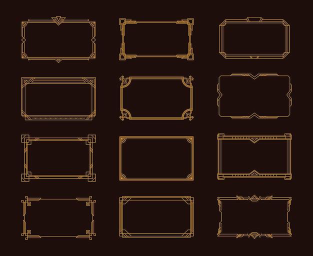 Illustration des éléments décoratifs de style vintage élégant art déco doré
